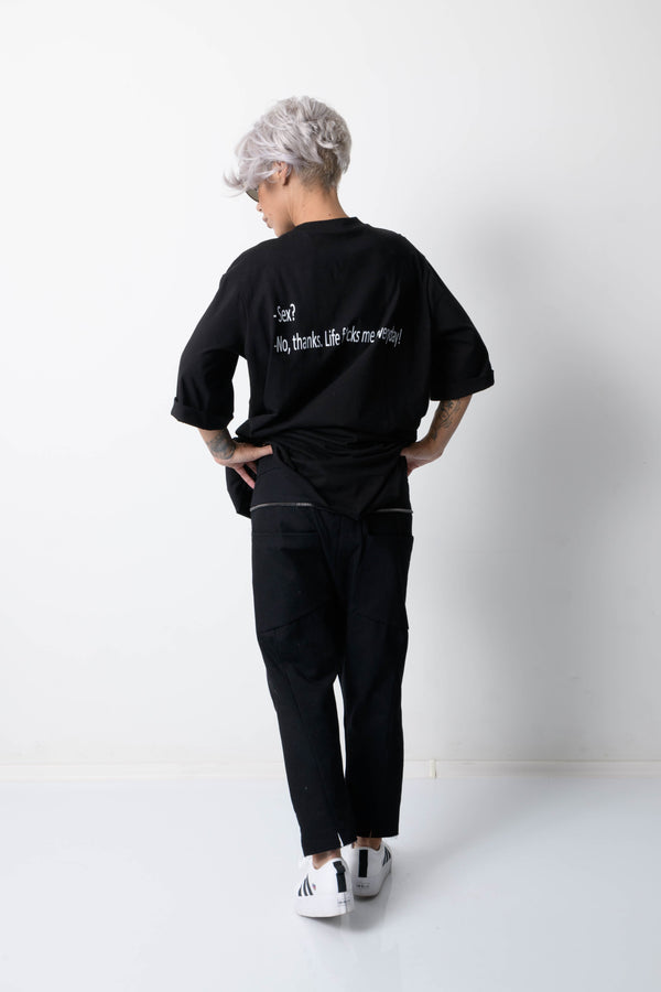 Black Wide Leg Drop Crotch Pants with Side Pockets