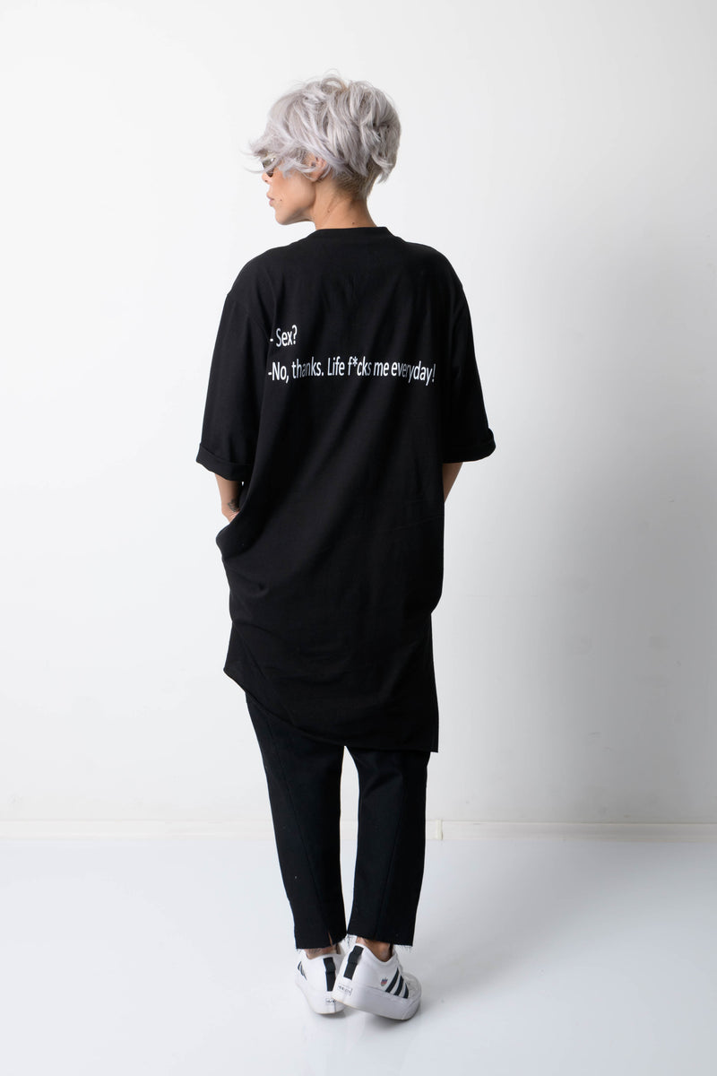 Black T Shirt Blouse with Back Print