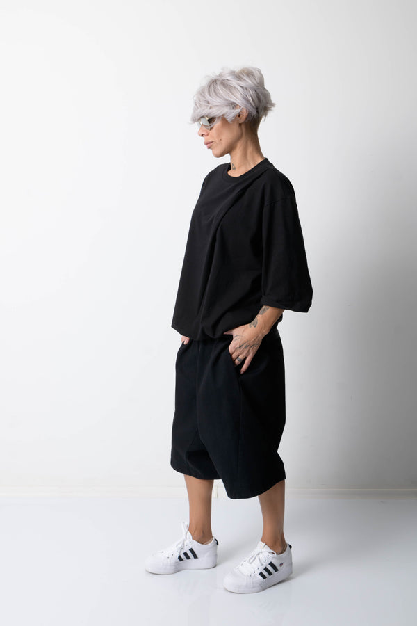 Black Denim Wide Leg Pants