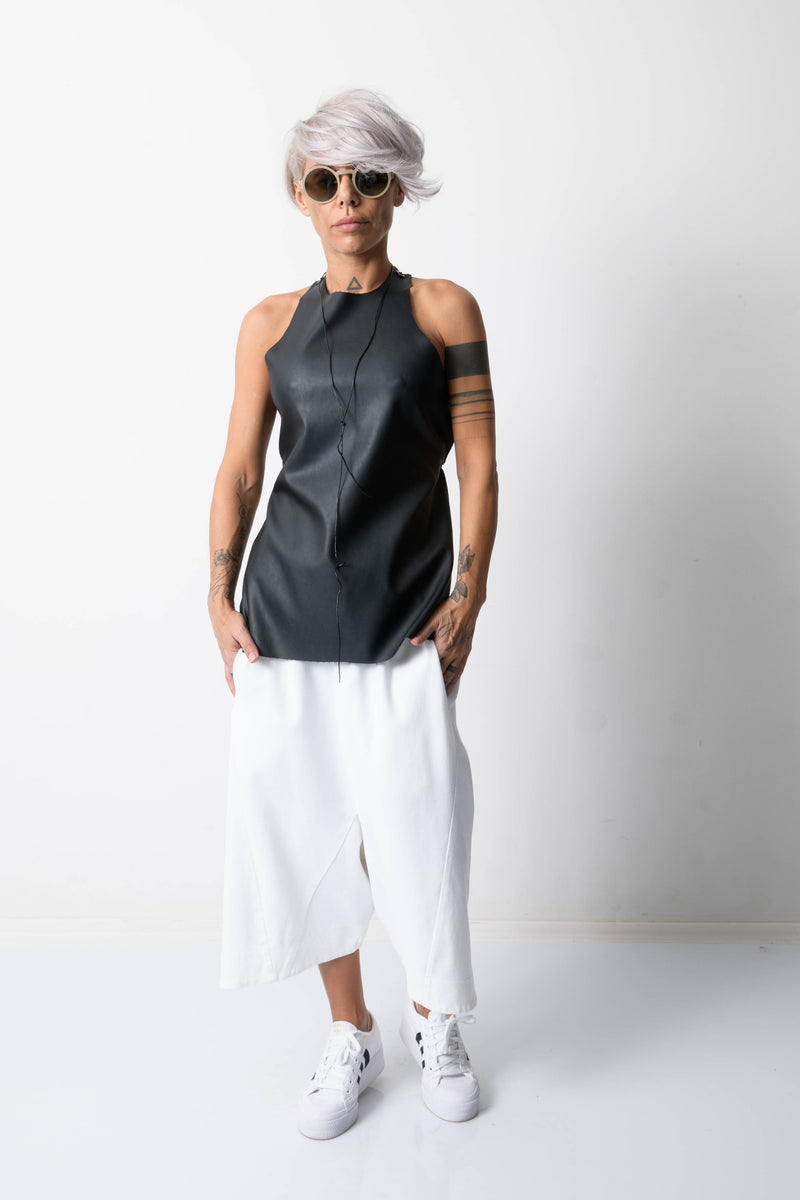 Black Open Back Leatherette Tank Top