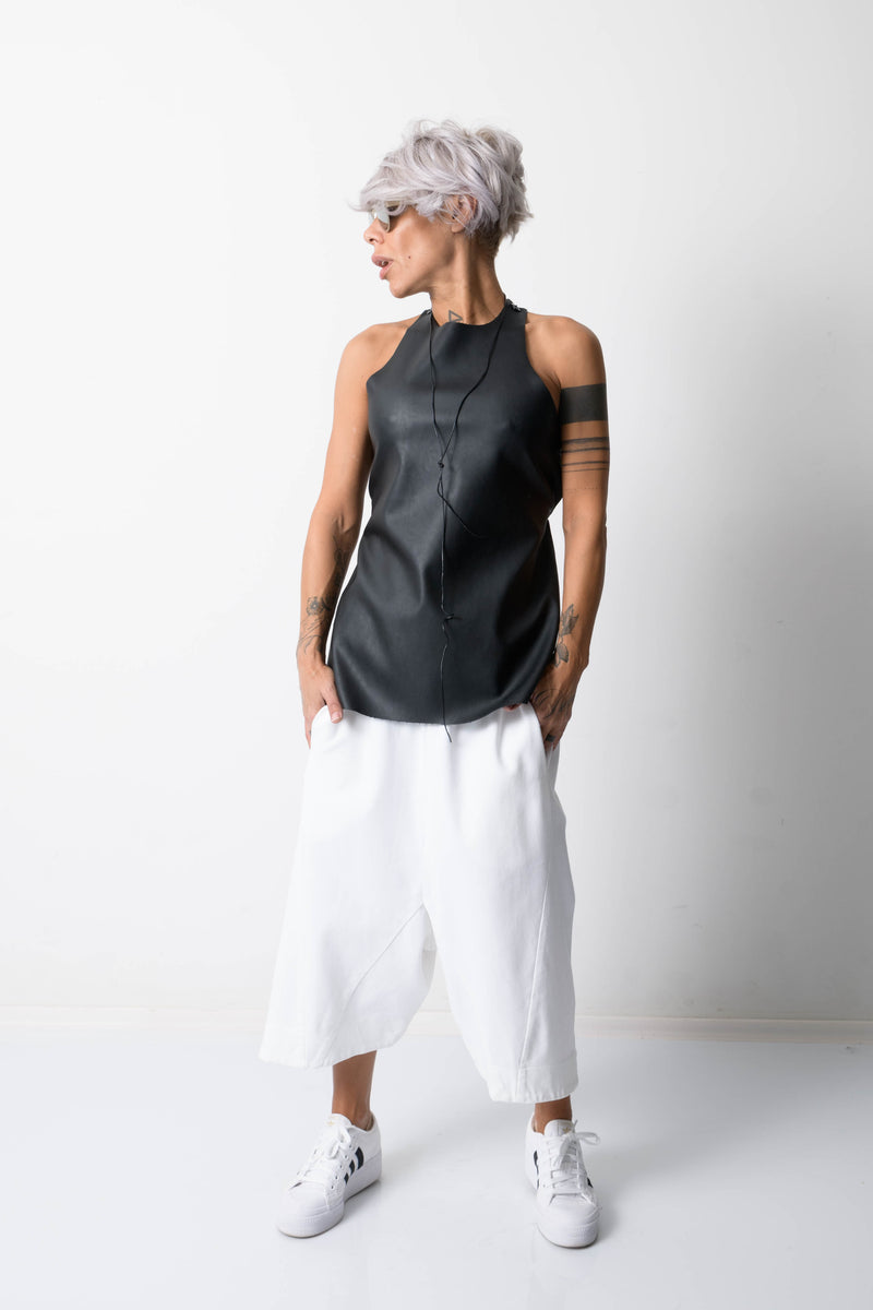 White Wide Legs Casual Pants for Women