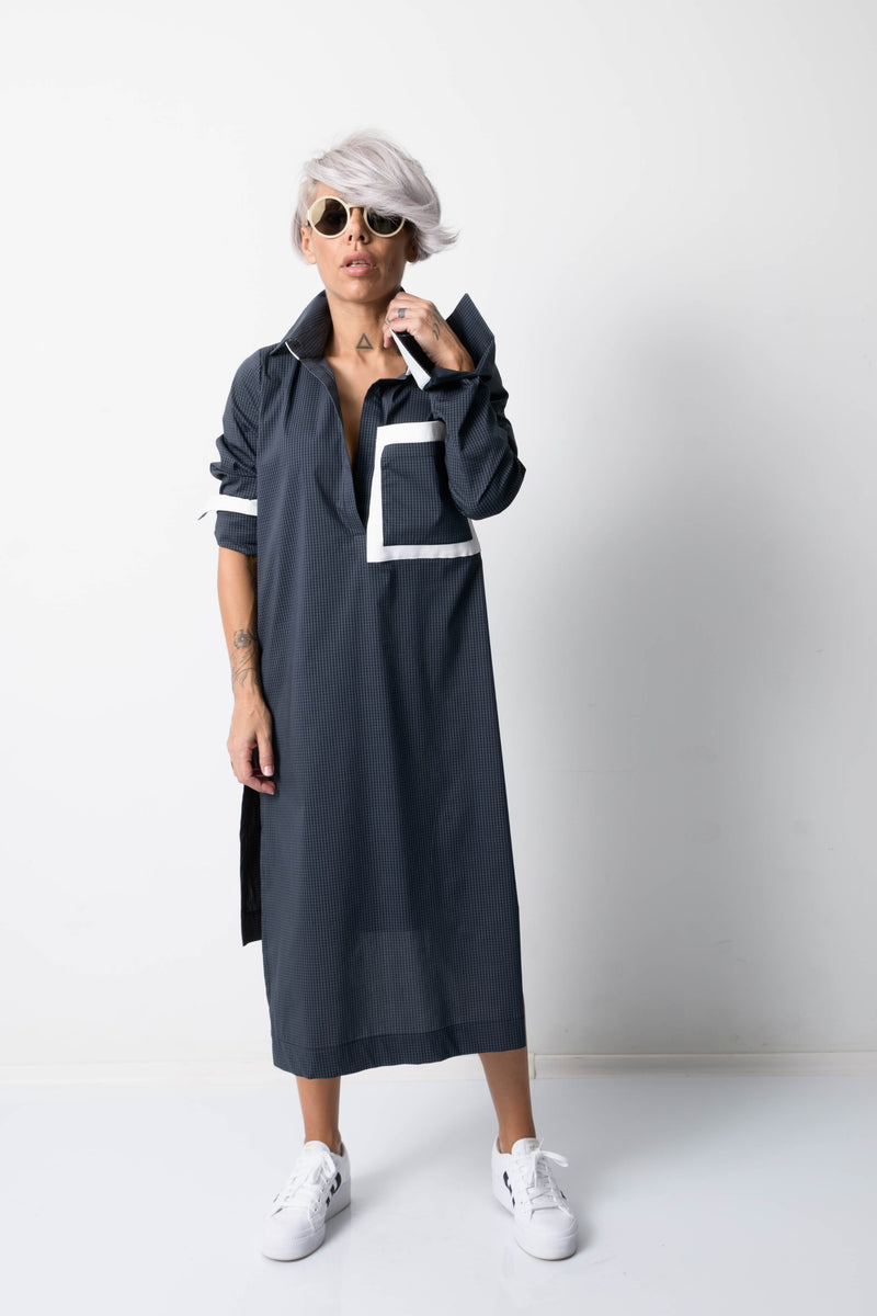 Asymmetric Checkered Maxi Oversize Loose Shirt