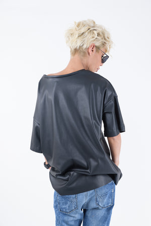 Black Leatherette Loose Shirt