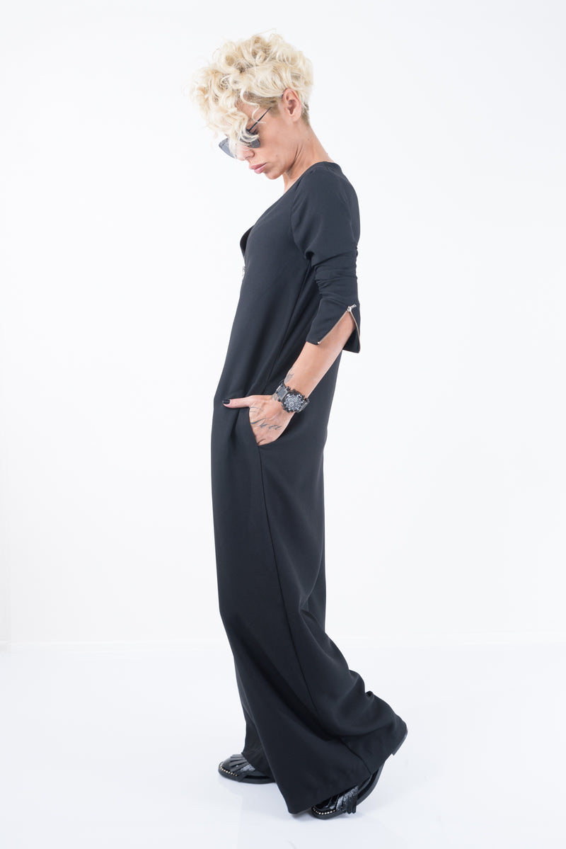 Black Jumpsuit wit Front Zipper and Long Sleeves - Clothes By Locker Room