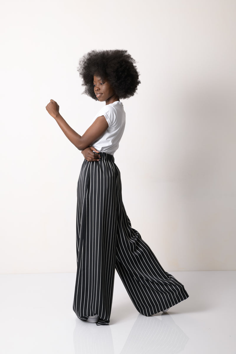 Black Stiped Pants and White T-Shirt