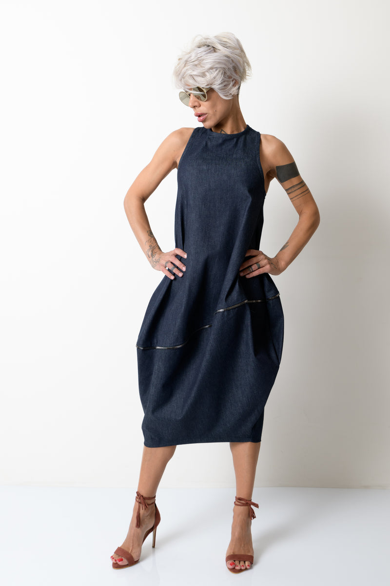 Denim Oversize Tunic Dress with a Zipper on the Back - Clothes By Locker Room
