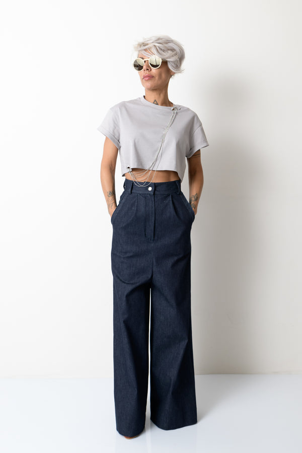 Women Wide Leg Denim High Waist Pants - Clothes By Locker Room