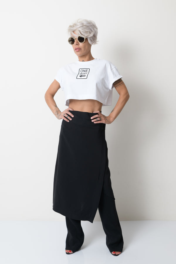 Black Crossover Women Skirt - Clothes By Locker Room