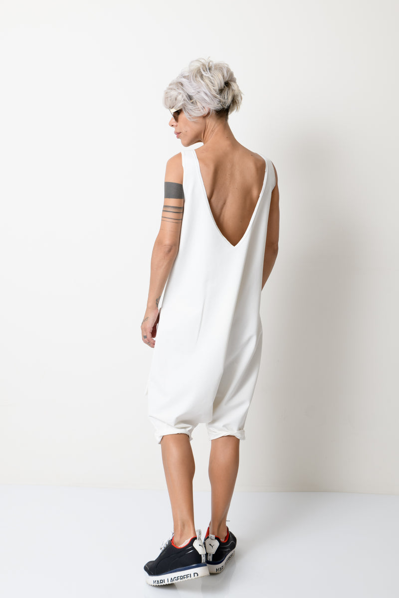 White Oversized Sleeveless Jumpsuit - Clothes By Locker Room