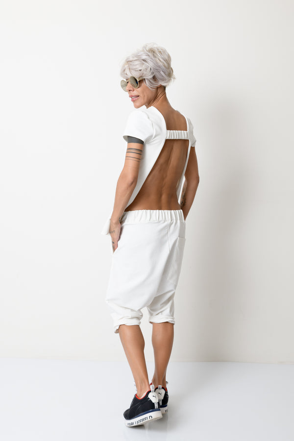 White Two Piece Tracksuit For Women With Open Back - Clothes By Locker Room