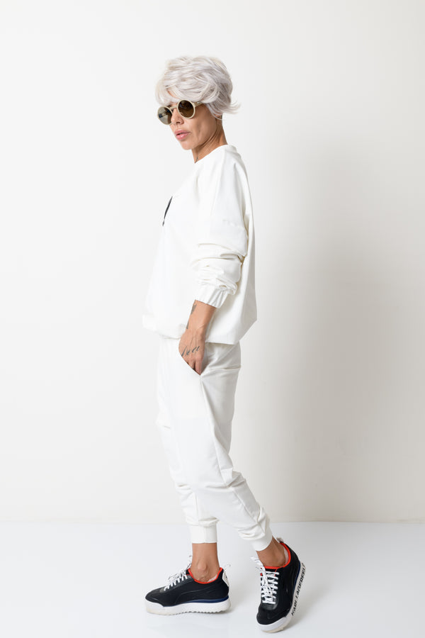 White Two Piece Tracksuit For Women - Clothes By Locker Room