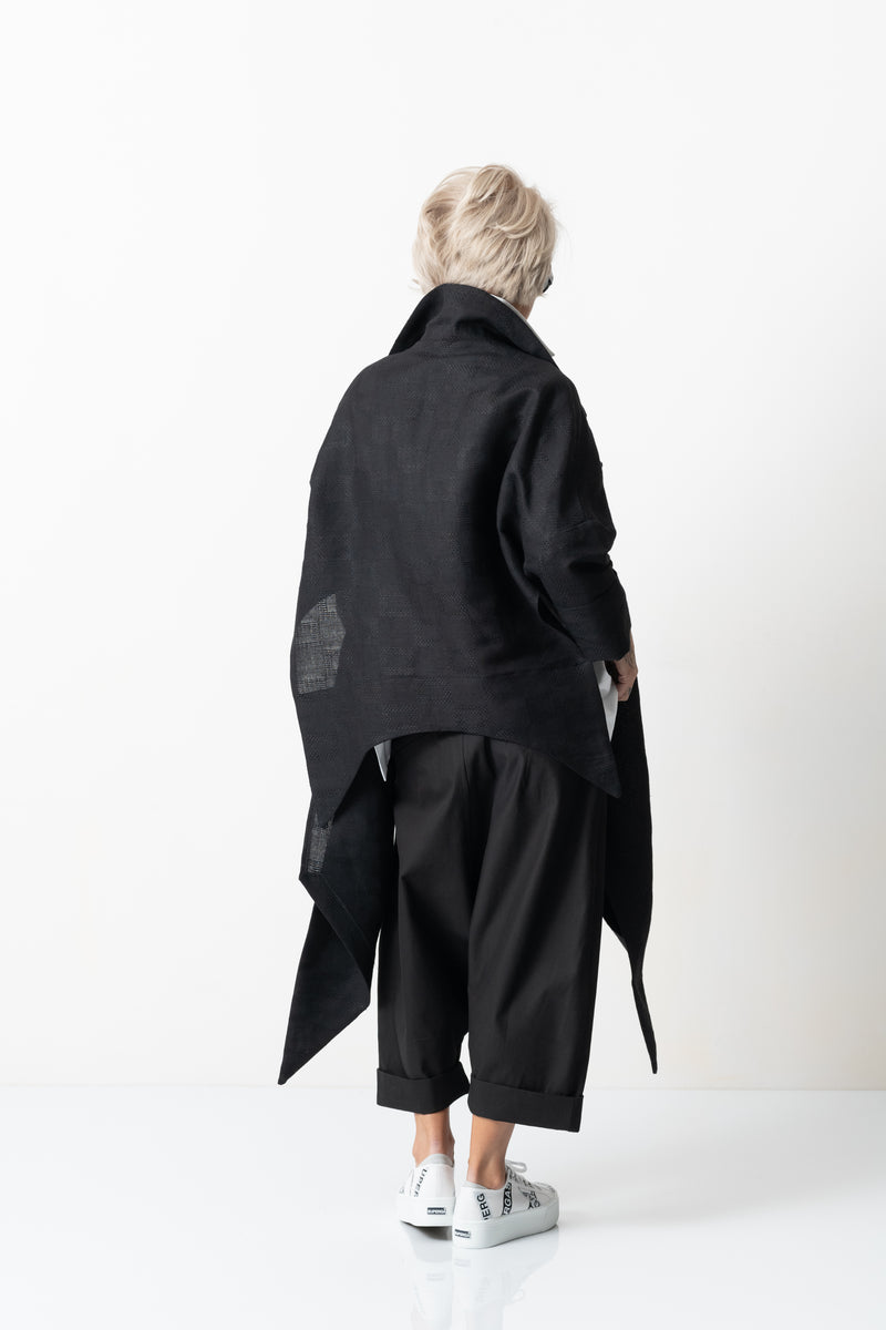 Asymmetric Black Linen Oversized Cardigan
