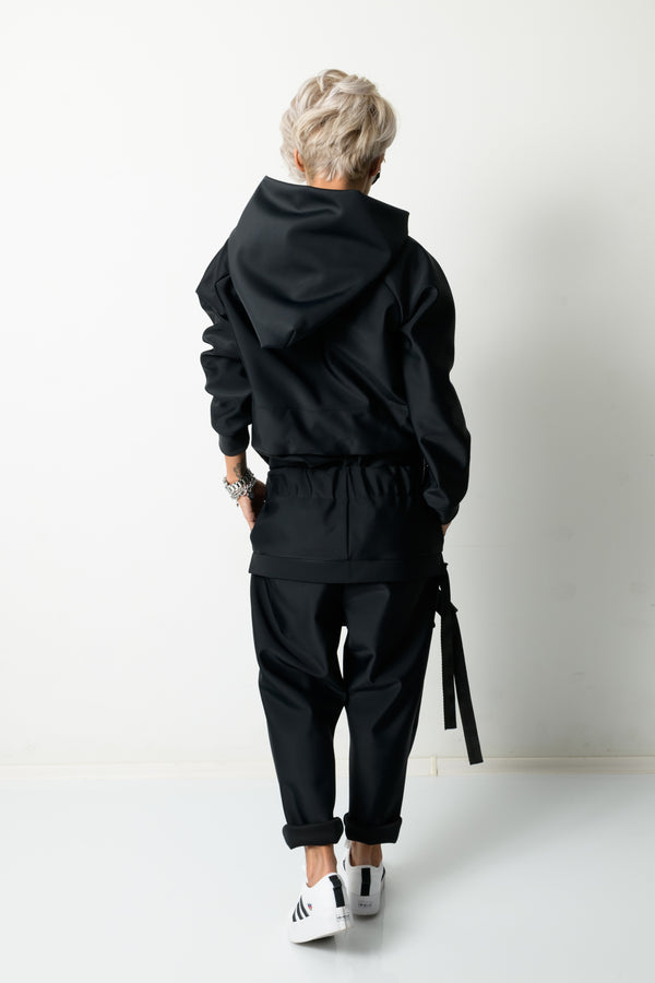 Black Loose Neoprene Harem Pants