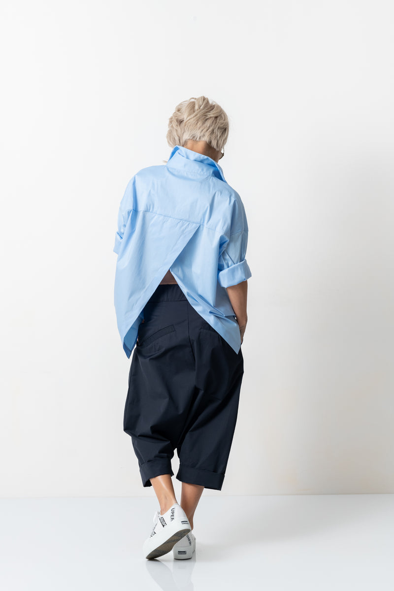Blue Drop Crotch Casual Pants with Side Pockets