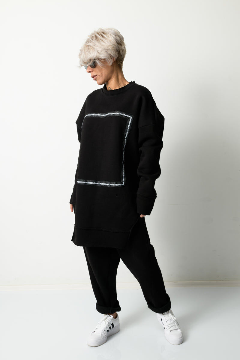 Black Two Piece Tracksuit Set For Women