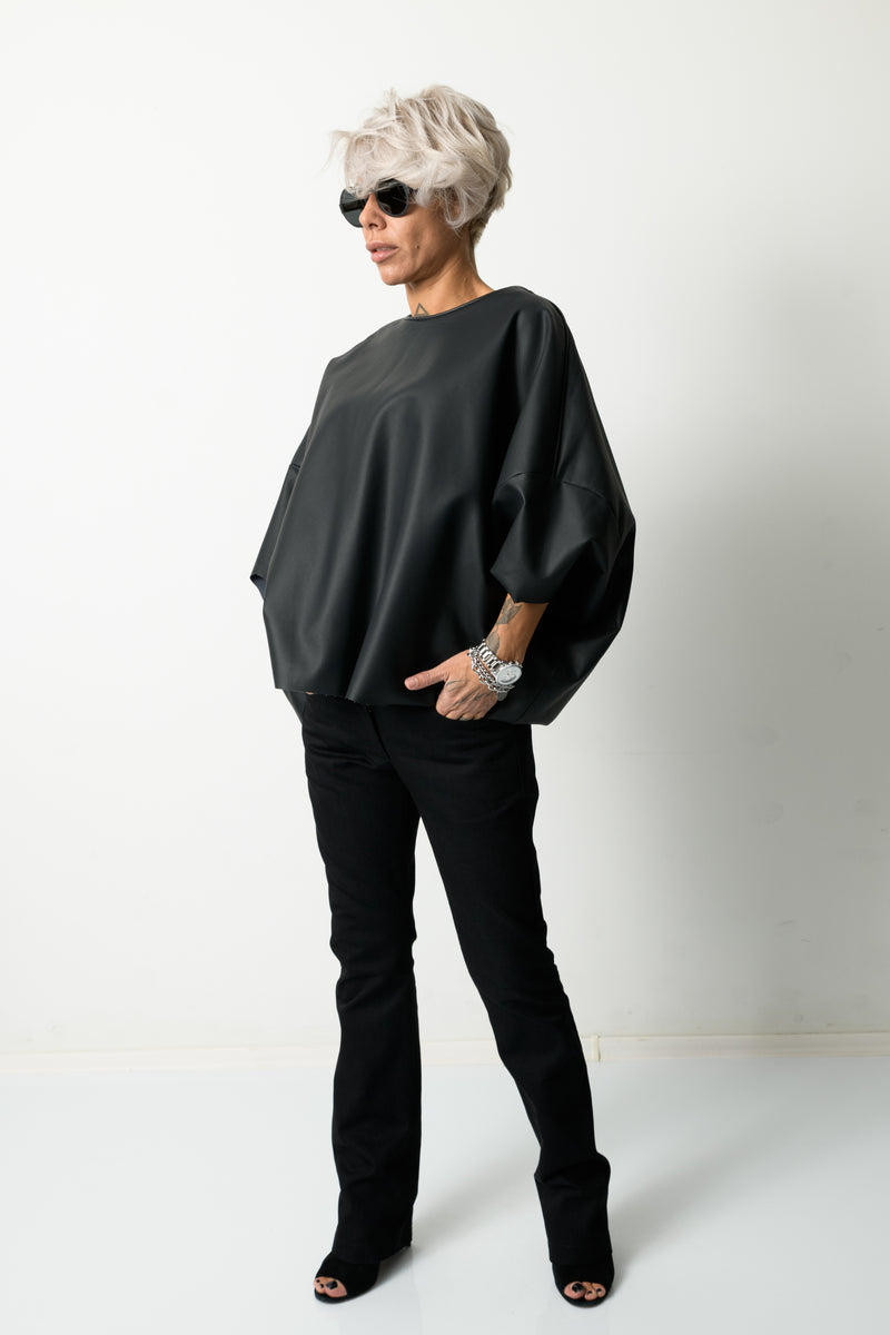 Black Leatherette Loose Tunic Top