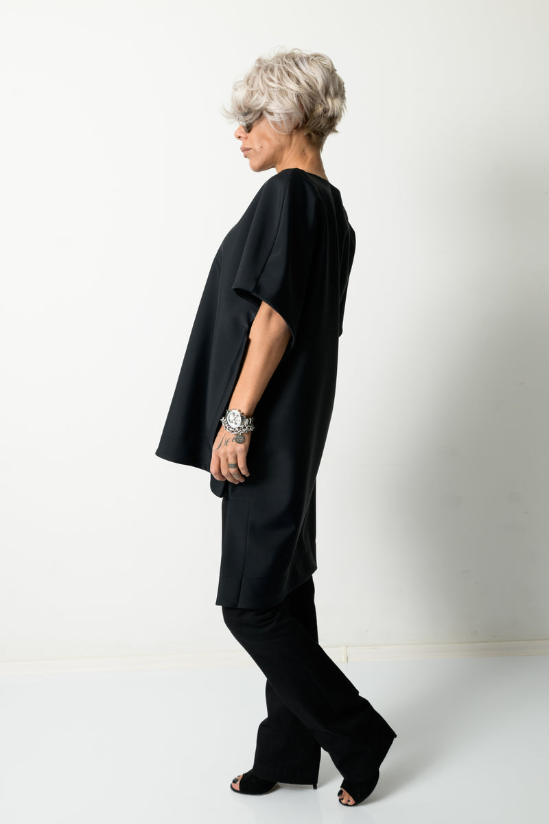 Black Fancy Loose Tunic 7/8 Sleeves and V Neck