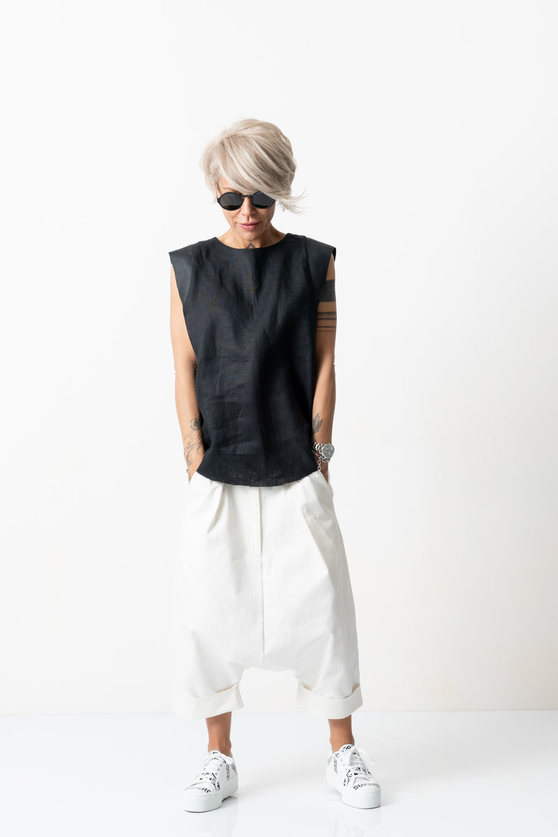 Black Linen Leatherette Tank Top with Open Back
