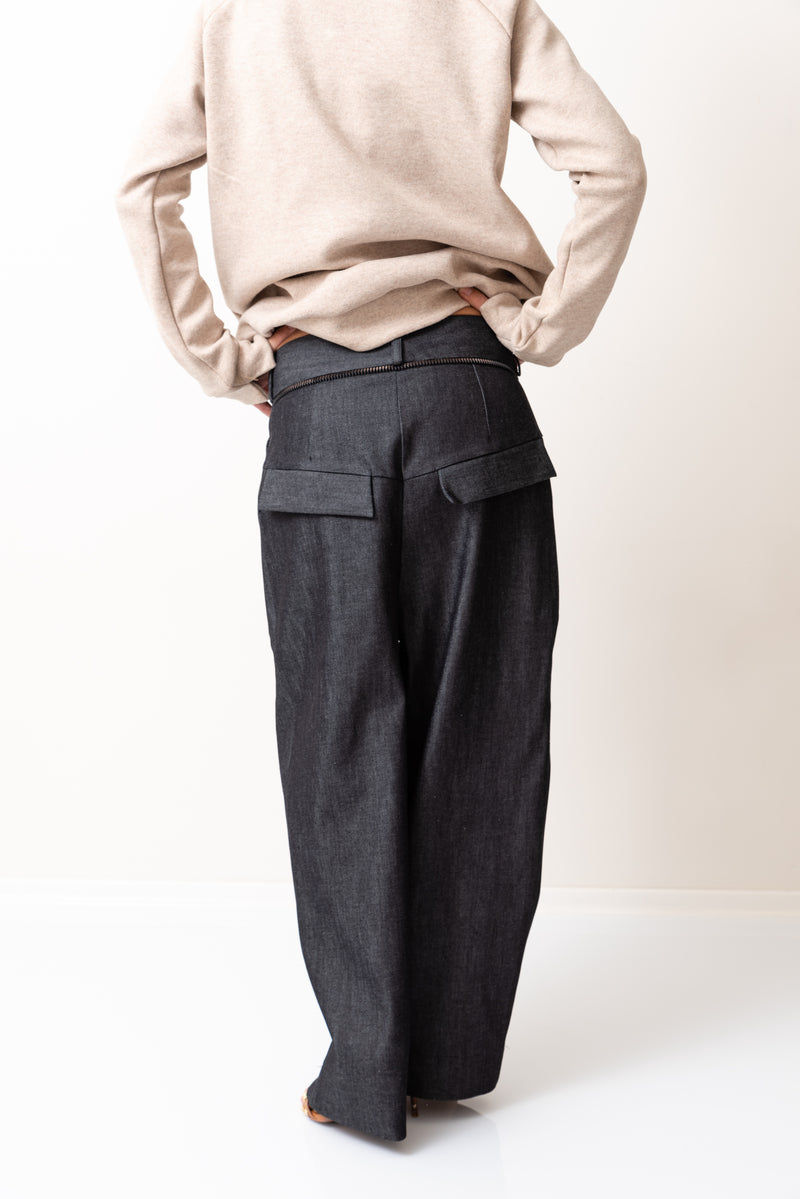 Denim Loose Bottom Casual Drop Crotch Pants - Clothes By Locker Room