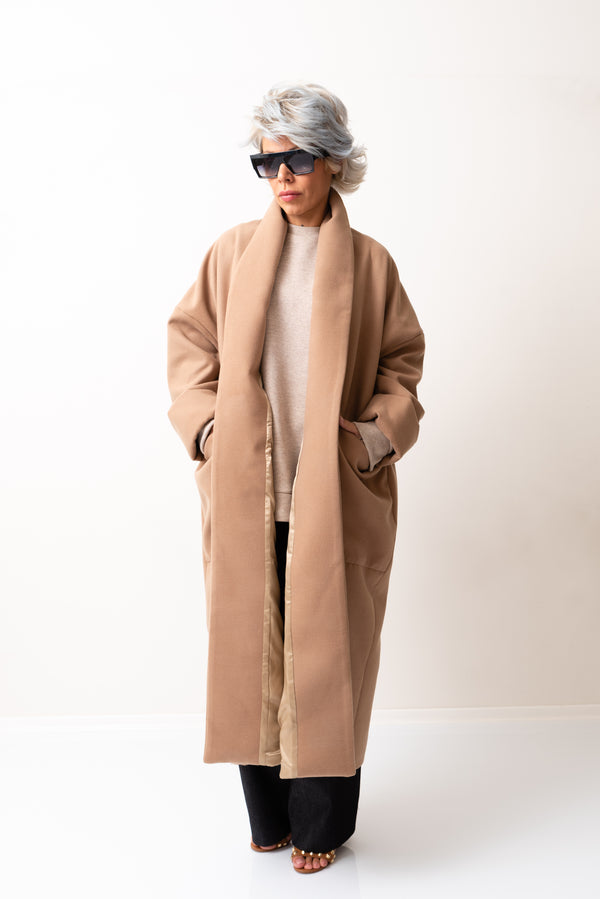 Beige Oversized Wool Coat with Big Collar - Clothes By Locker Room