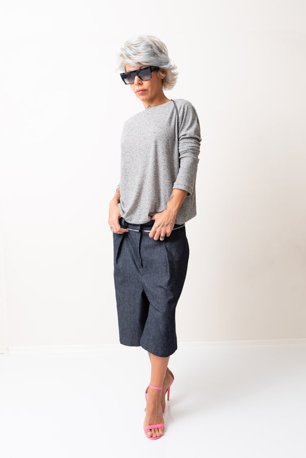 Denim Loose Drop Crotch Harem Cropped Pants - Clothes By Locker Room