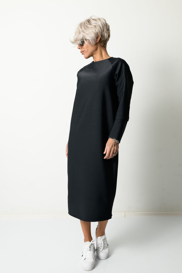 Winter Black Long Sleeved Dress With Back Functional Zipper