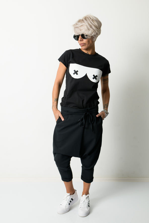 Black Harem Loose Low Crotch Pants