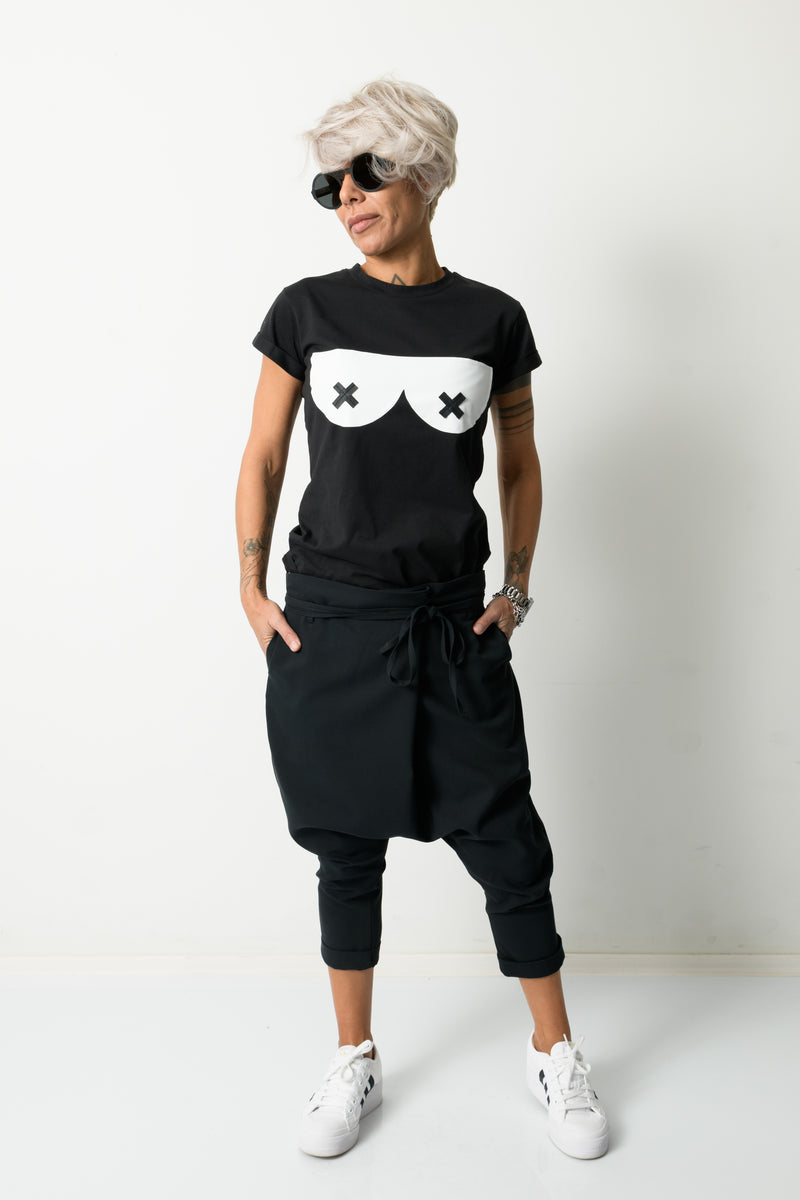 Black T Shirt Top with Short Sleeves