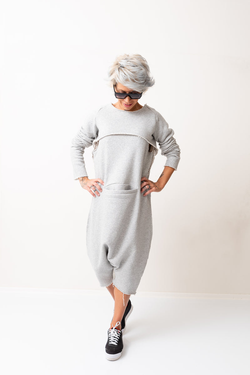 Grey Oversized Sleeveless Jumpsuit Paired with a Top with Long Sleeves - Clothes By Locker Room
