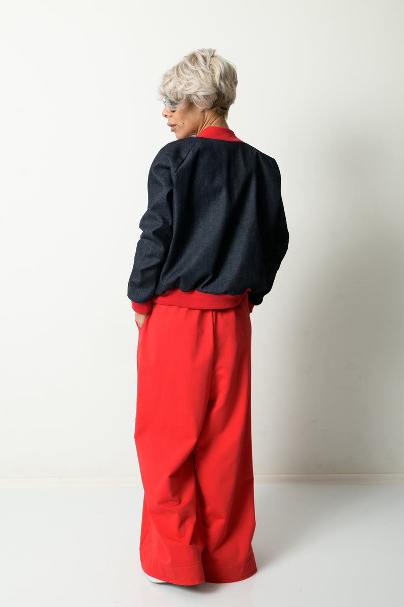 Woman Denim Bomber Jacket with Red Cuffs
