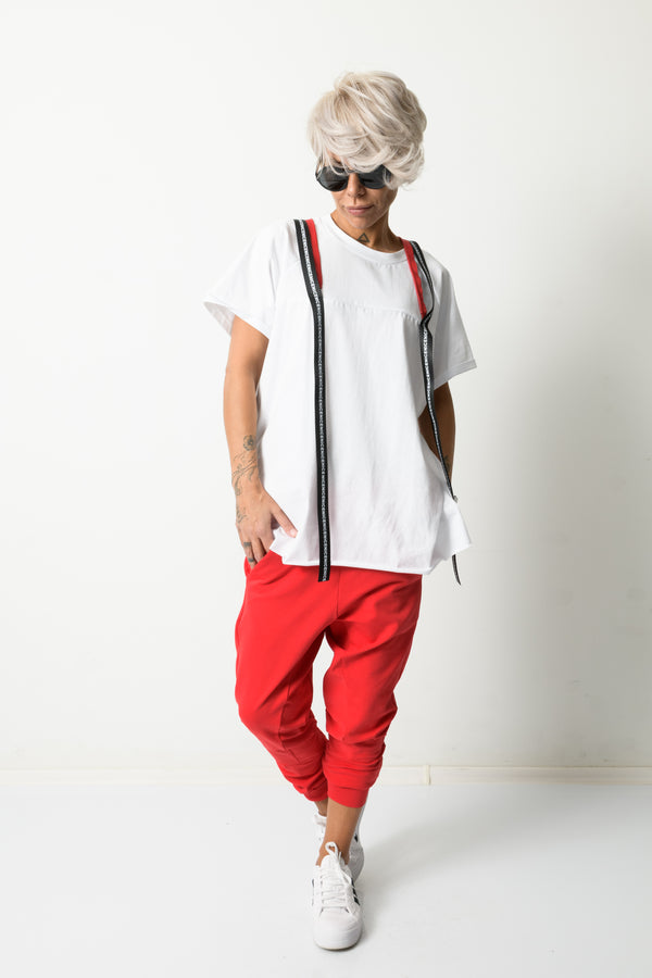 Red Drop Crotch Sweat Pants