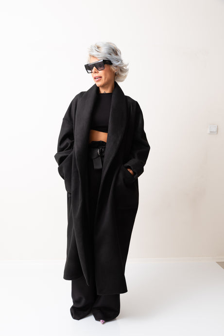 Black Wool Winter Oversize Coat With Shawl Neck and Pockets - Clothes By Locker Room