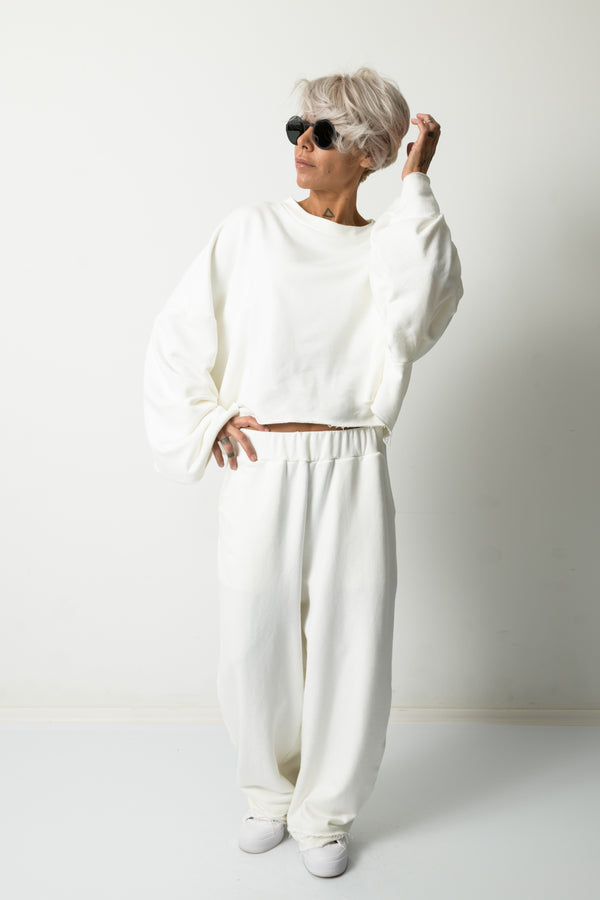 White Two Piece Tracksuit Set For Women