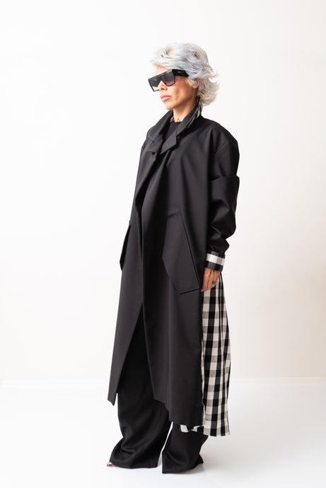 Oversized Long Black Coat With Checked Back - Clothes By Locker Room