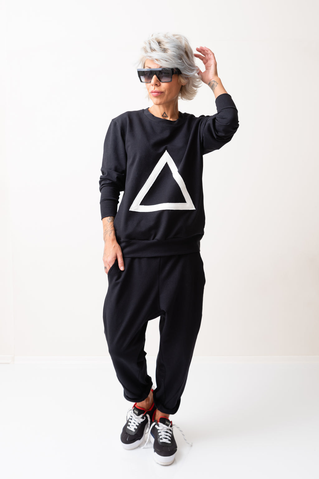 Black Two Piece Tracksuit - Pants and Top with long sleeves - Clothes By Locker Room