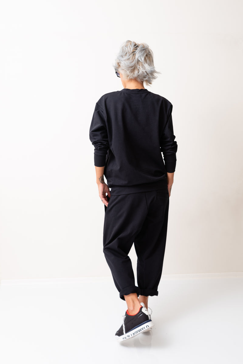 Woman Black Casual Two Piece Tracksuit - Clothes By Locker Room
