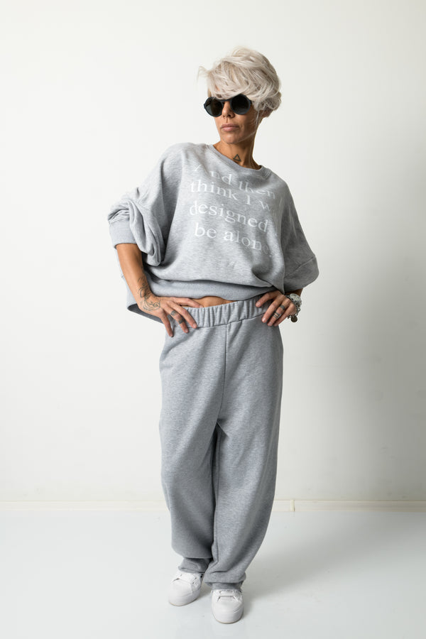 Grey Loose Two Piece Tracksuit Set For Women