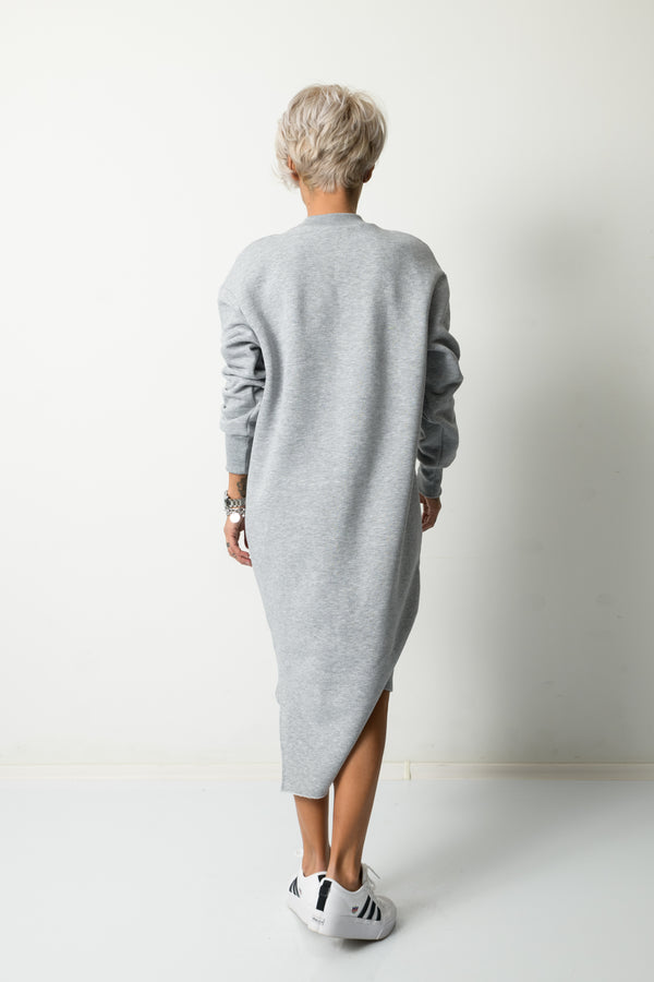 Grey Winter Long Sleeved Dress With Front Print