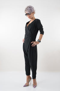 Sexy Black Polyviscose Drop Crotch  Extravagant Loose Jumpsuit
