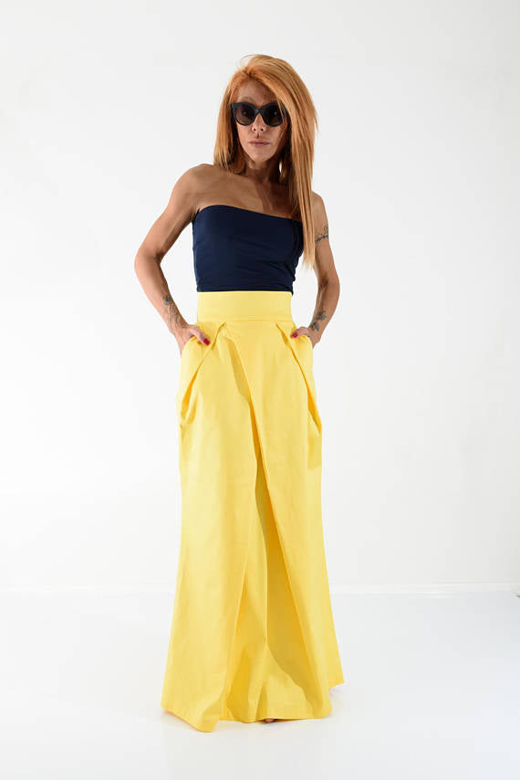 Yellow Maxi Skirt With High Waist and Side Pocket - Clothes By Locker Room