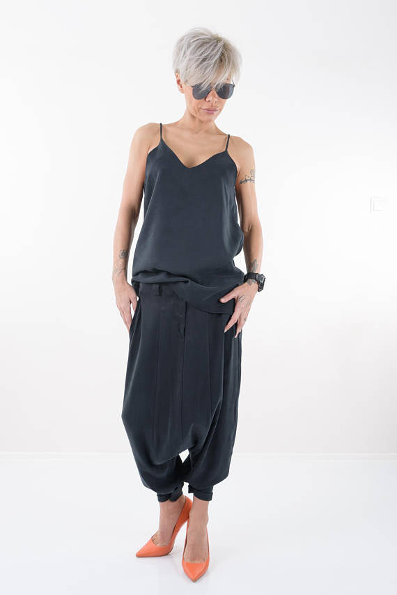 Black Drop Crotch Harem Pants - Clothes By Locker Room