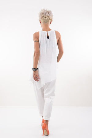White Summer Harem Drop Crotch Wide leg Low Waist Pants