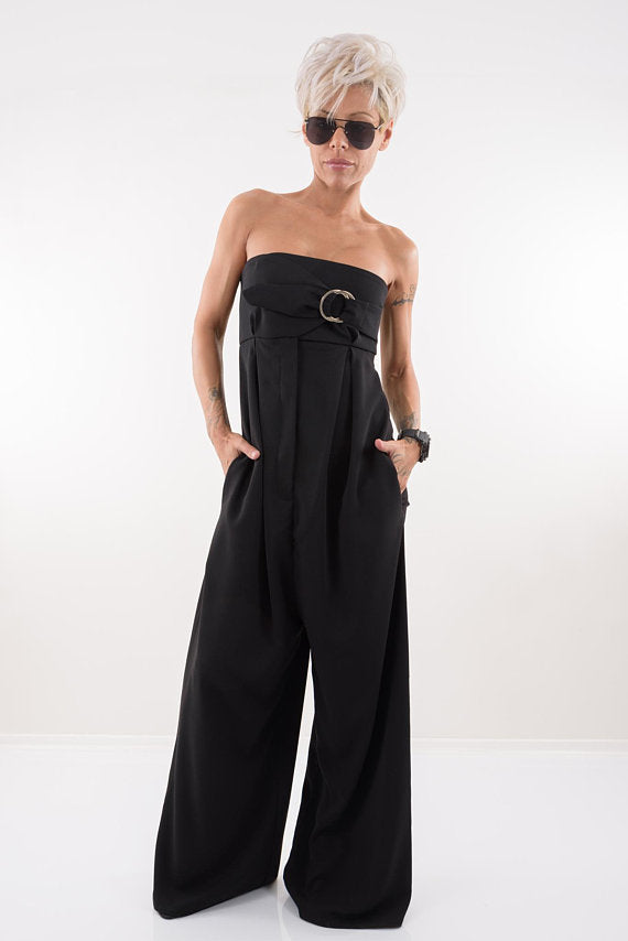 Black Bustier Jumpsuit with Wide Leg and Side Pockets - Clothes By Locker Room