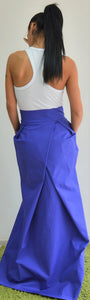 Blue Long Skirt With High Waist and Side Pockets - Clothes By Locker Room