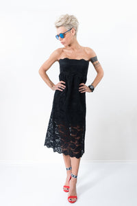 Black Lace Evening Midi Cocktail Wedding Prom Guest Bridesmaid Gown Dress