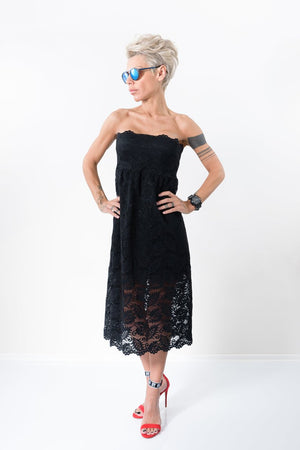 Black Soft Lace Evening Midi Dress - Clothes By Locker Room
