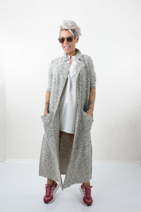 Grey Maxi Soft Knit Jacket With Long sleeves - Clothes By Locker Room