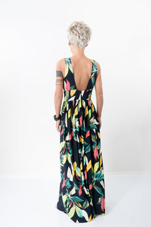 Maxi Summer Backless Flower Print Dress - Clothes By Locker Room
