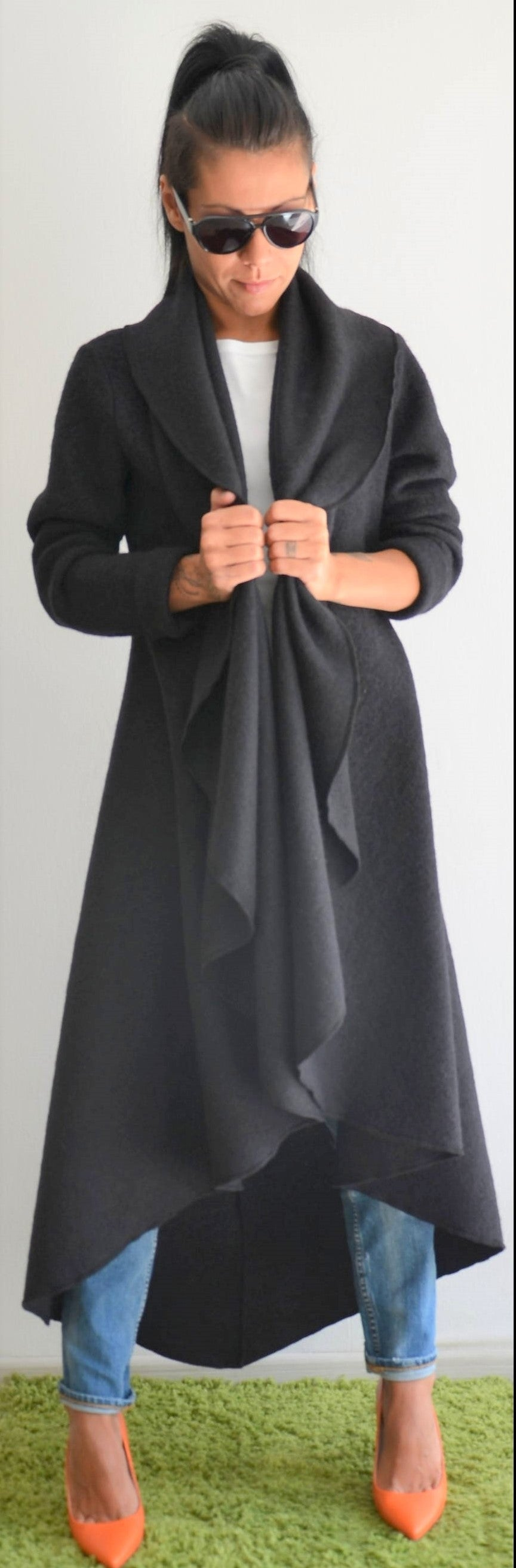 Black Maxi Wool Coat with Shawl Neck - Clothes By Locker Room