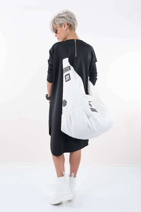 Black Loose Tunic Dress With Long Sleeves - Clothes By Locker Room